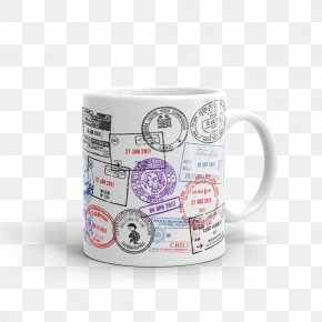Mug - Mug Passport Stamp Rubber Stamp Postage Stamps PNG