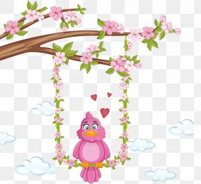 Cartoon Painted Purple Flowers Bird Branch - Bird Stock Photography Royalty-free PNG