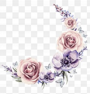 -painted Watercolor Wreath - Flower Drawing Stock Illustration Cartoon PNG