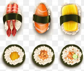 Vector Hand-painted Japanese Cuisine - California Roll Sushi Japanese Cuisine Illustration PNG