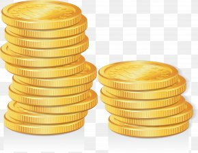 Vector Hand Painted Gold Coins - Gold Coin Clip Art PNG
