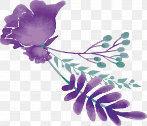Purple Watercolor Flower Title Box - Watercolor Painting Wedding Mulberry PNG
