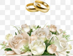 Bride Holding Roses Flower Ring - Wedding Invitation Flower Bouquet PNG