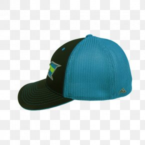 Blue Stripes - Electric Blue Aqua Turquoise Baseball Cap PNG