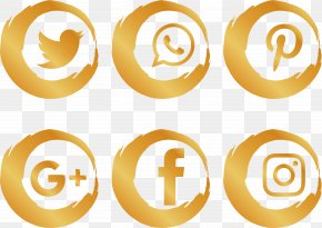 Gold Brush Social Icons - Social Media Social Network Icon PNG