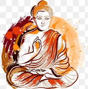 Vector Painted Lord Buddha - Gautama Buddha Buddhism Buddhahood Illustration PNG