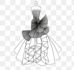 Wedding Dress - Drawing Line Art Fashion Dress Sketch PNG