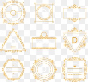 Vector Painted Nine Gold Frame - Picture Frame Yellow Pattern PNG