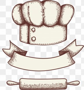 Hand Drawn Vector Chef Hat With Ribbon - Bakery Logo Pastry Cookie PNG