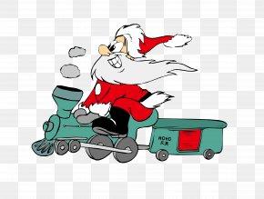 Santa Claus - Santa Claus Train Rail Transport Tram Christmas PNG