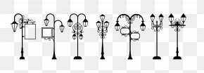 Vector Black Pen Simple Retro Street Lights Seven - Street Light Lighting PNG
