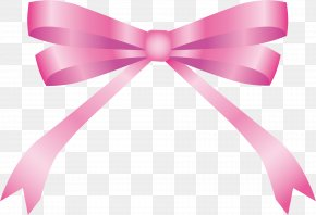 Hand Painted Pink Bow Tie - Pink Ribbon Bow Tie PNG
