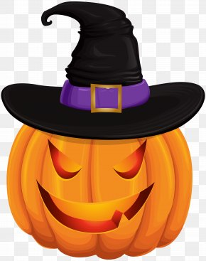 Halloween Pumpkin With Witch Hat Transparent Clip Art - Jack-o'-lantern Halloween Clip Art PNG