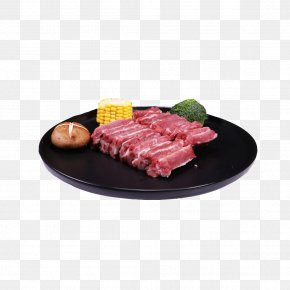 Product Corn, Pig Ribs Row A Dish - Spare Ribs Yakiniku Sirloin Steak Roast Beef PNG