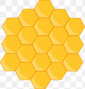 Yellow Hexagon Cliparts - Honeycomb Bee Free Content Presentation Clip Art PNG