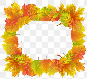 Autumn Leafs Border Frame Clipart Image - Picture Frame Autumn Clip Art PNG