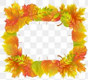 Autumn Leafs Border Frame Clipart Image - Picture Frame Autumn Clip Art PNG