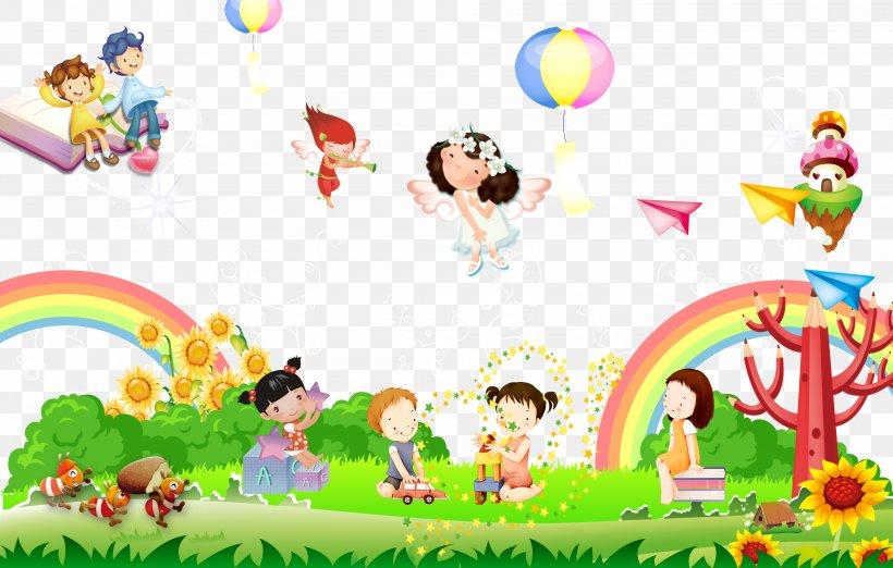 Kindergarten Cartoon Illustration, PNG, 4000x2550px, Children S Day, Area, Art, Cartoon, Child Download Free