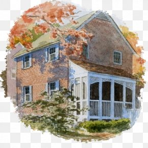 Watercolor Architecture - Watercolor Painting House Building Art PNG