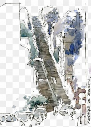 Drawing Stairs - Watercolor Painting Drawing Sketch PNG