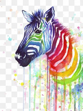 Zebra Color Splash - T-shirt Zebra Paper Painting Rainbow PNG