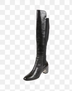 Black Cow Leather Boots Gaotong - Cattle Leather Riding Boot PNG