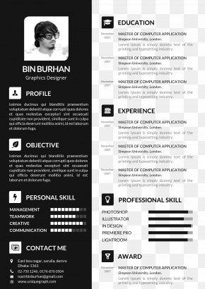 Black Resume Template - Résumé Template Curriculum Vitae Cover Letter PNG