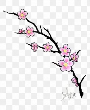 Cherry Blossom Art - Cherry Blossom Drawing Tattoo Cartoon PNG