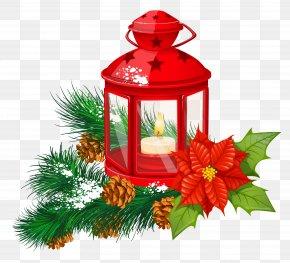 Red Christmas Lantern Transparent Clipart - Paper Lantern Christmas Candle Clip Art PNG