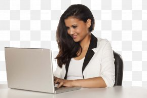 Operating A Laptop White-collar Beauty - White Collar Laptop Web Design PNG