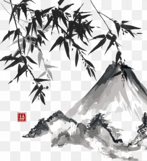 Vector Chinese Painting Style Bamboo Material - Japanese Painting Ink Wash Painting Japanese Art PNG