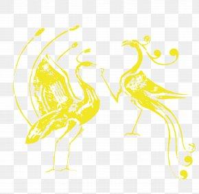 Golden Phoenix And Peacock Vector Material - Beak Chicken Water Bird Duck PNG