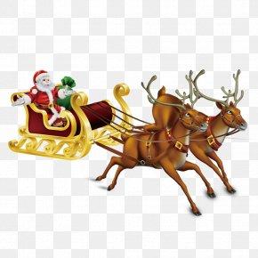 Santa Claus - Santa Claus's Reindeer Christmas Illustration PNG