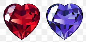 Transparent Diamond Hearts Clipart - Diamond Gemstone Heart Clip Art PNG