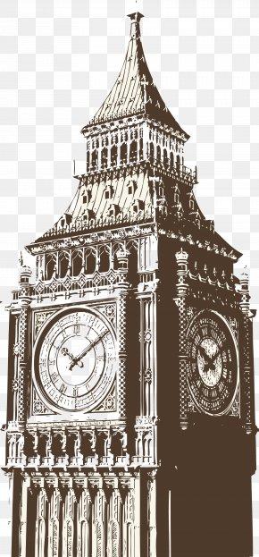 Hand-painted Big Ben - Big Ben Westminster Bridge Palace Of Westminster London Eye Wallpaper PNG