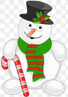 Snowman With Candy Cane Clipart - Candy Cane Christmas Tree Clip Art PNG