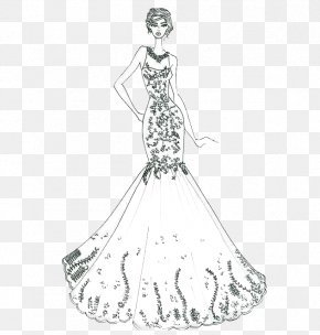 Costume Design Artwork - Wedding Dress Ball Gown Sketch PNG
