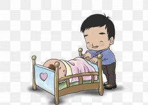 Cartoon Father To Coax The Child - Sleep Child PNG
