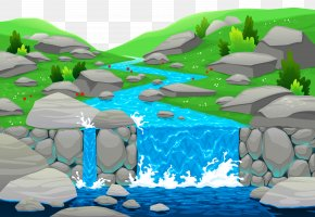 Waterfall Ground Clipart - Cartoon River Royalty-free Clip Art PNG