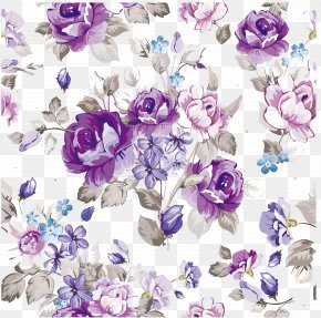 Purple Watercolor Flowers Vector Material - Flower Floral Design Paper Pattern PNG