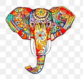 Painted Elephant Head - Work Of Art Elephant Drawing Painting PNG
