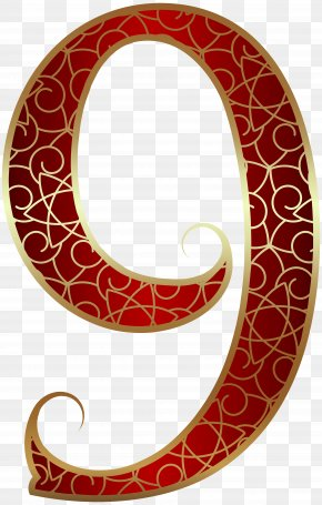 Gold Red Number Nine Clip Art Image - Circle Area Pattern PNG