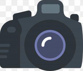 Vector Flat SLR Camera - Single-lens Reflex Camera Photography Icon PNG