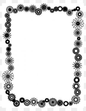 Hearts And Flowers Border - Borders And Frames Picture Frames Black And White Clip Art PNG