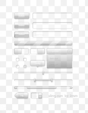 Transparent Glass Button UI Components - Black And White Pattern PNG
