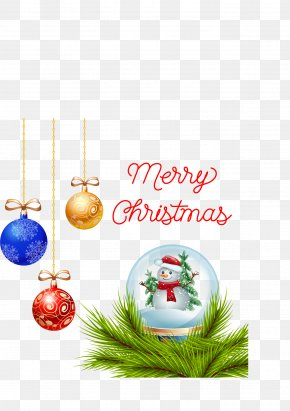 Three Colors Of Christmas Balls Card - Christmas Ornament New Year Santa Claus PNG