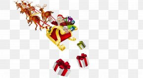 Santa Claus Pull The Sleigh Material Free - Santa Claus Reindeer Sled Christmas Clip Art PNG