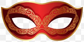 Red And Gold Carnival Mask Clip Art Image - Carnival Of Venice Mask PNG