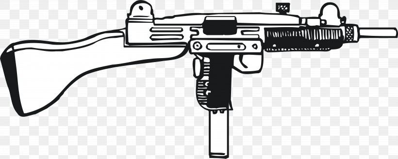 Trigger Weapon Machine Gun Battlespace, PNG, 5506x2209px, Weapon, Air Gun, Assault Rifle, Black, Black And White Download Free