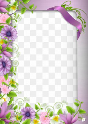 Purple Flowers Border - Borders And Frames Border Flowers Picture Frame Clip Art PNG